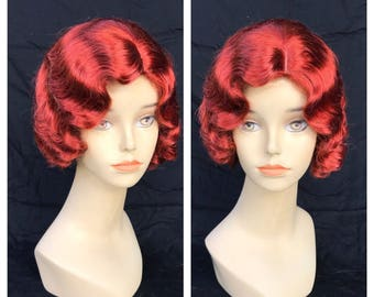 READY to SHIP 1920's Henna Red Adult Flapper Bombshell Pinup Wig