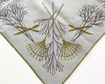 Vintage Handkerchief Tammis Keefe Gardener Gift Rakes Clippers Collectible Hankie