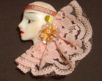 Vintage 1980's Lady Head Face profile Pin brooch Flapper Pink lace sequin hand painted FREE SHIPPING