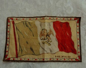 Vintage Cigar Felt - Collectable Mexican Flag Cigar Felt - Silk Cigar Felt - Tobacciana Cigar Felt