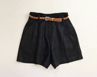 Vintage 1990s Black Linen Pleated High Waist Mini Shorts - XS