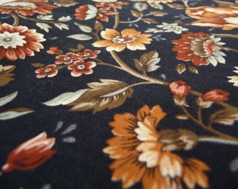 Vintage Fall Fabric, Museum Classics, VIP Fabrics, Cranston Print Works, Vintage Cotton Fabric, Orange Flowers, Rust Flowers, Sewing Fabric