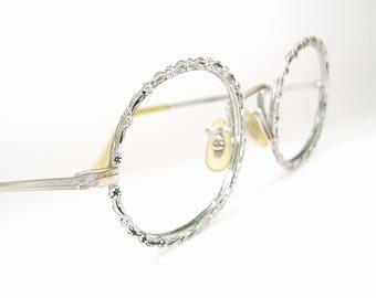 Vintage Round Flower Eyeglasses Frame 12K GF Never Worn