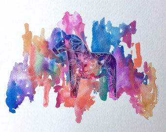 """Original Watercolor Painting - Rainbow Dala Horse - 9""""x12"""""""