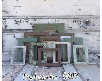 Green Picture Frames - Picture Frame Set - Wood Picture Frame - Rustic Picture Frame -  Picture Frames - Photo Frames - Collage Frames