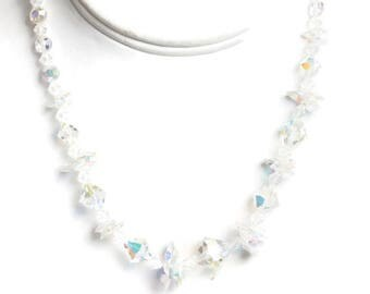 AB Crystal Bridal Choker Necklace Aurora Borealis Beads Unusual Beads Vintage