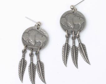 Buffalo Nickel Style Earrings Feather Dangles Simulated Coin Jewelry Silver Tone Vintage