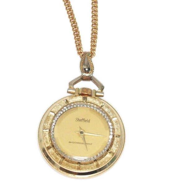 Vintage Sheffield Watch Pendant Necklace Gold Tone Wind Up