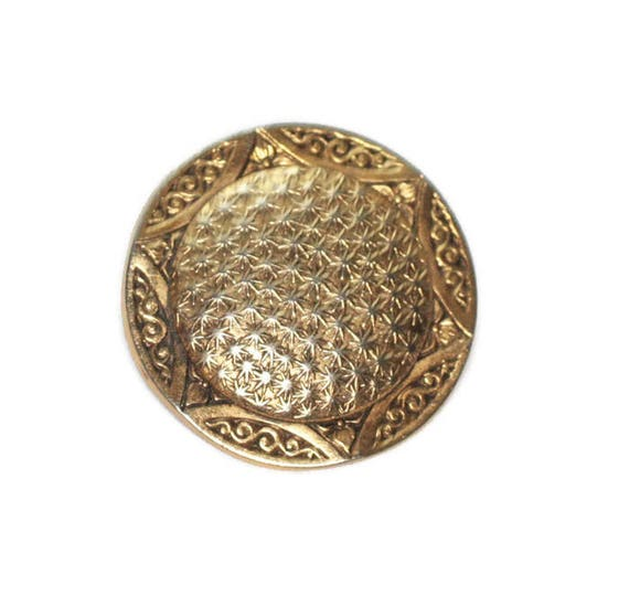 Embossed Round Gold Tone Pin Star Motif Smaller Size Signed Freirich