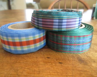 Ribbon, vintage ginghams 3 for 1 price 10 yards each 1940's