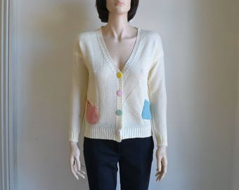 Pastel Patch Cardigan Sweater Boyfriend Sweater Color Block Sweater