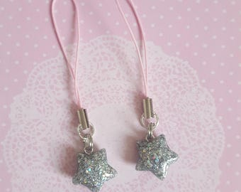 Holographic Resin Star Charms With Cell Phone Strap