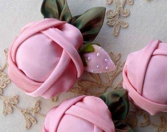 Ribbon Rose Pincushion With Strawberry
