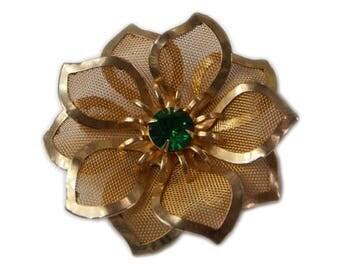 1960s Retro  Gold Tone Mesh Emerald Green Rhinestone Flower Floral Vintage Brooch Pin