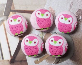 Lovely Spring Forest Woods Pink Baby Hoot Owls On The Tree - Handmade Fabric Covered Buttons(0.87 Inches, 5PCS)