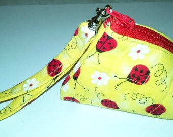 Fabric Ladybug Quilted Pyramid Coin Purse