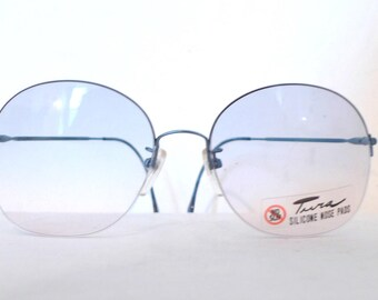 80s does 60s Janis Joplin Big Mod NOS Sunglasses TUra Eyewear Round Mod Sunnies / Designer Eyeglasses Frames / Larger. Metal. Janis Joplin.