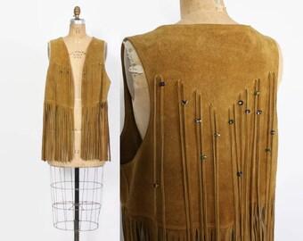 Vintage 60s Beaded FRINGE VEST / 1960s Brown Suede Leather Fringed Hippie Festival Vest