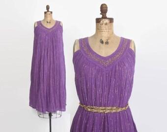 Vintage 70s Gauze DRESS / 1970s Orchid Purple Metallic Gold Cotton Tent Dress