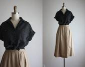 ash black linen blouse