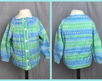 1980s Childs Cable Knit Sweater in Blue and Green with Rabbit Buttons - Size 3