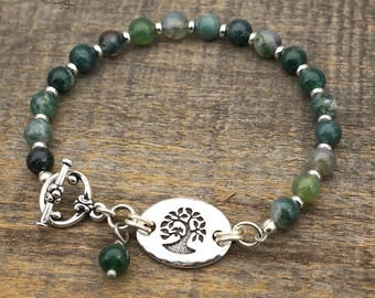 Green tree bracelet, moss agate semiprecious stone green and white beads, silver, 7 3/4 inches long