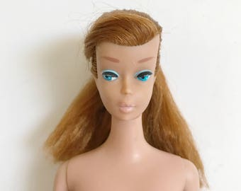 Vintage Mattel Titan Swirl Ponytail Barbie Light Brown Hair, Straight Legs, 1958, Japan, Barbie Doll