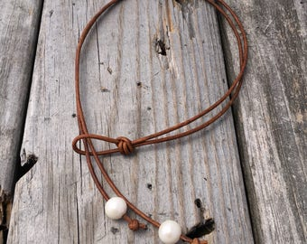 Fresh Water Pearl & Leather Lariat Handmade by Joy Kruse