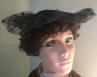 Vintage Black Velvet Calot Hat Fascinator