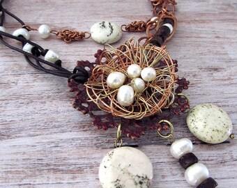 Birds Nest Necklace - Bohemian Pearl Necklace - Statement Bohemian Necklace - Bird Nest Necklace - Freshwater Pearl Necklace - Nest Necklace