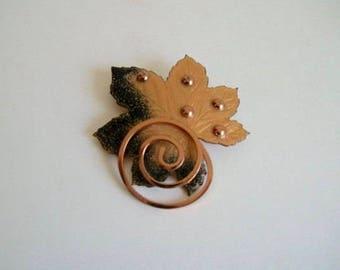 Vintage Copper Gold Enameled Leaf Matisse Brooch