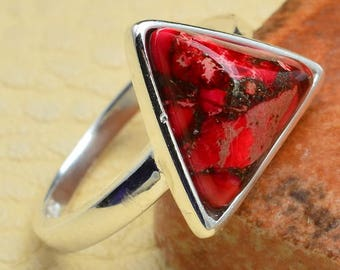 Triangle Sterling Silver and Red Copper Turquoise Ring Size 5