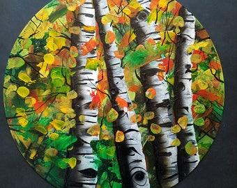 Autumn Aspens  - Original Abstract Autumn Landscape Art on Vinyl Record - Aspen Tree Painting by Mr Mizu
