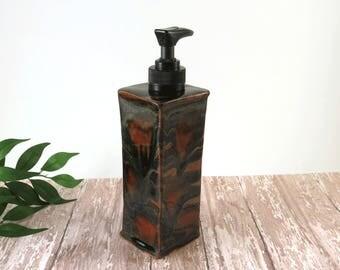 Bath Soap Dispenser - Dish Soap Pump - Bathroom Decor - Handmade Ceramics - Shades of Brown -  Liquid Soap - Hand Soap - Kitchen Decor - 418