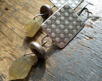 Sterling Silver & Raw Labradorite Dangle Earrings, Blue Green Crystal Organic Sculptural Textural Silversmith Earrings, Lisa Flanders OOAK