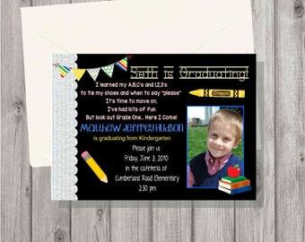 DIGITAL Red Blue Yellow Preschool Kindergarten Graduation Invitation Open House Celebration Chalkboard Girl or Boy Personalized