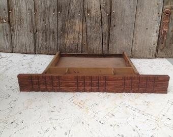 Vintage Treadle Sewing Machine Front Single Drawer Wood Decorative Ornate Design