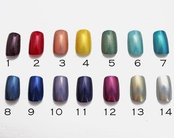 Choose Your Color Holo Medium Square Nails | Acrylic Glue On Stiletto Nails | Holographic Fake Nails | False Nails | Short Square Nails |