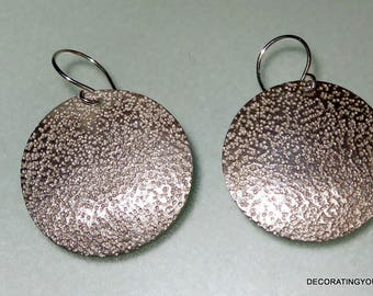 Disc Hammered Sterling Silver Earrings Modernist Pierced