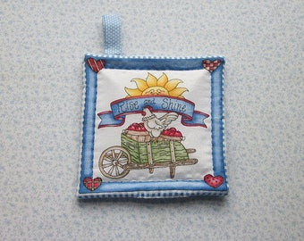 rise n shine rooster and apple cart insulated potholder with loop to hang