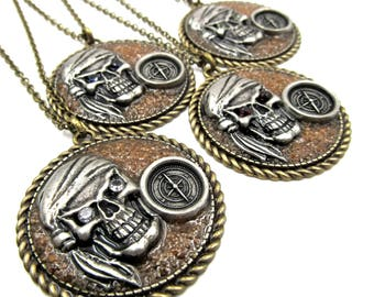 NEW Antique Bronze Pewter Pirate & Compass - Real Sand Inlay - Pendant Necklace (BRNK120)