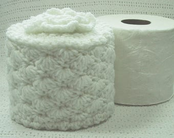 Toilet Paper Cozy w- Flower on Top - Pure White - TP Cover - Cover Your Spare - Hand Crocheted - Acrylic Yarn - Bed & Breakfast Decor