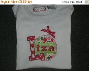 ON SALE Personalized Christmas Ornament Shirt  Monogrammed Ruffle Shirt