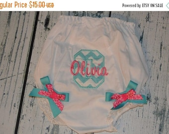 ON SALE Personalized  Bloomers Monogram Bloomer Diaper Cover