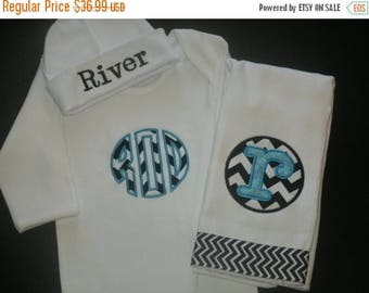 ON SALE Personalized Infant Gown Hat and Burpcloth set,  Monogram Take Home Baby Outfit
