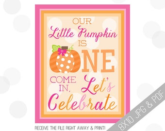 Pumpkin Party Printable Sign | Pumpkin Welcome Sign | Fall Door Sign | Fall Party Welcome | Halloween Party | 1st Birthday Decor |