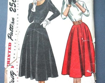 ON SALE Uncut 1970s Simplicity 2258 Junior  Misses' Two-Piece Dress Flared Skirt Dart Fitted Top Vintage Sewing Pattern  Bust 31 Waist 25.5
