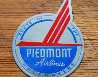 Vintage Piedmont AirLines Route of the Pacemakers Travel Decal Gummed Sticker