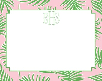 Palm Pink and Green Stationery, Invitation or Announcement Set