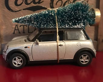 Silver Mini Cooper Carrying Christmas Tree Ornament